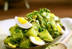 Green Potato Salad w/ Rocket, Chive & Pistachio Pesto