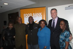 Campaigning with Food Bank CEO Margarette Purvis and NYC Mayor Bill de Blasio